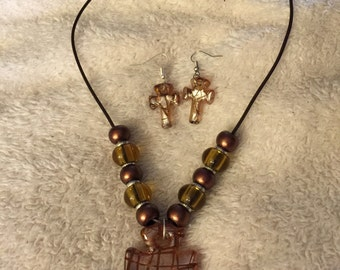 Brown Glass Cross Pendant Necklace and Earring Set
