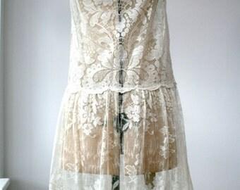 Exceptional vintage 1920s cream lace flapper dress wedding antique Art Deco