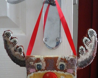Rudolf Reindeer Decoration, Christmas HangingOrnament, Cross and stitch Hanging Ornament, Rudolf Reindeer bag decoration, Hanging decoration
