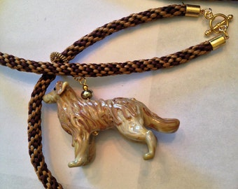 BEST OF SHOW: Golden Retriever lampwork necklace on a kumihimo braid