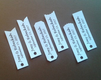 """GIFT TAGS, wedding 25 pcs, customize personalized printed /white wedding tags 1"""" x 3.5""""  die cut tags/wedding/party/gift/scrap booking/paper"""