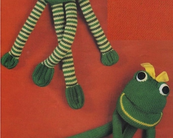 Frog Toy PDF Knitting Pattern : Cuddly Toy . Instant Digital Download