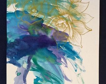 Gold Succulent Drawing - Watercolor & Ink Drawing - Succulent Art - Original Art