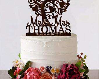 Love Tree Wedding Cake Topper Mr and Mrs Cake Topper With Last Name Love Couple Cake Topper  Initial Cake Topper