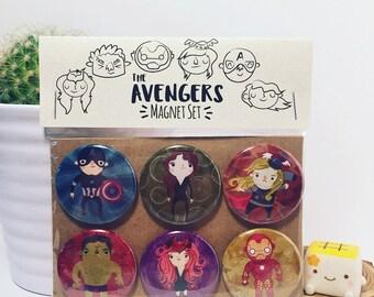 Avengers Magnet Set, Avengers Button Set, Avengers Birthday Gift