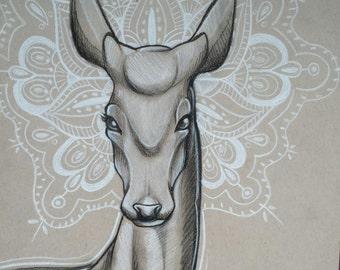 Doe Mandala original art illustration , charcoal, deer