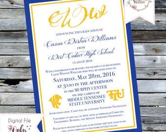 Customizable High School Graduation Invitation Digital Printable