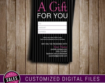 Gift Certificate | Gift Card | Business Card | Blitz Card | Printable | Digital File | Younique Compliant Fonts & Colors