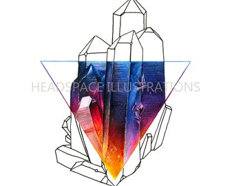 Triangle Rainbow Quartz Crystal Mineral Geometric Art - Colored Pencil Print by Headspace Illustrations