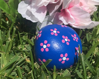 Hand Painted Floral Stone/ Flower Stone
