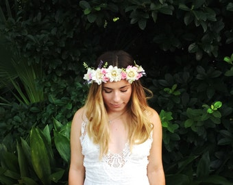 Flower crown, bridal flower crown, floral crown, wedding headpiece, boho crown, floral head wreath