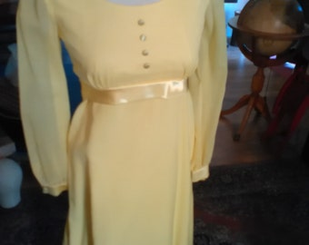 VINTAGE 1960's Empire Waist Bride's or Flower Girl's Long Dress with Veil