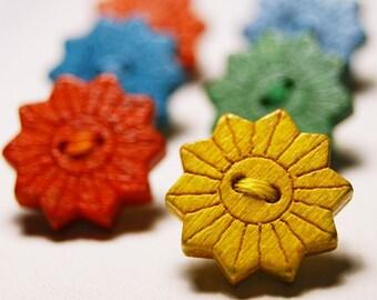 Rustic wooden sun button thumb tacks / push pins - 1 set of 6
