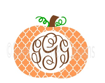 Quatrefoil pumpkin monogram SVG instant download design for cricut or silhouette