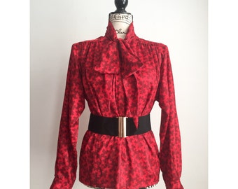 Vintage Evan-Picone Red Blouse with Black Print, Vintage Red Blouse, 80s Blouse