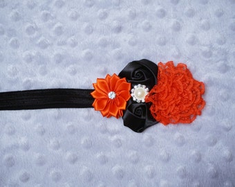 Red and Black Flower Cluster Headband