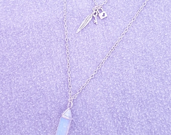 Crystal and Antique Silver Double Necklace