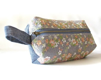 Lace Makeup bag with strap , denim bag, linen bag , lace bag, travel case, medium  makeup case, toiletry bag, zipper pouch