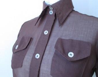 Vtg 1970s Sheer Brown Button Up Shirt