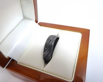 Damascus Stainless Steel Wedding Ring Handmade in Scotland