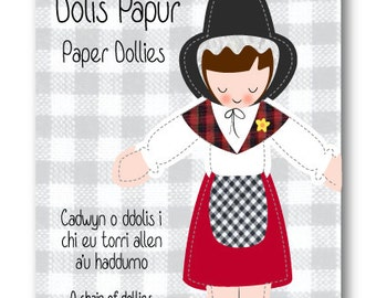 Welsh lady paper dollies