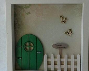 Fairy Door frame, fairies garden, magical picture frame, pixies, elves and fairies, wall art fairy door scene, fairy garden, picket fence