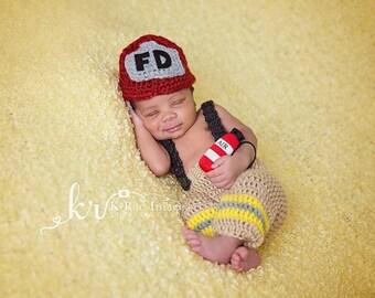 Crochet Firefighter Outfit, Newborn Fireman Set, Fireman Hat