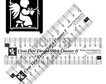 CLEAR Cross Stitch Guage, Ruler, Hole Counter - Clear View Thread/Stitch Counters I & II - Needlework TOOL, Accessory, Fabric, Transparent