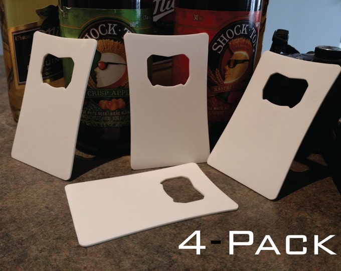 4 - Pack Personalized Card Opener, Bottle Opener, Groomsman Gift, Gift for Him, Laser Engraved, Credit Card Sized