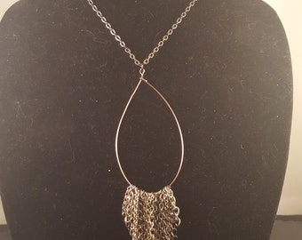 Silver Wire Loop Necklace with Miscellaneous Hanging Chain