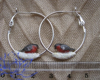 earrings rings, earrings with birds, winter earrings, winter birds