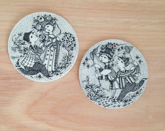 Pair of Nymølle Denmark Wall Decorations Plaques by Bjørn Wiinblad Scandinavian June August Month Illustrations Whimsical