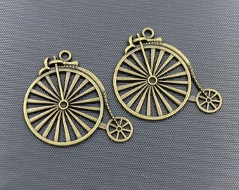 5pcs Large Penny Farthing Bicycle Charm Antique Bronze Tone 51x46mm - BH150
