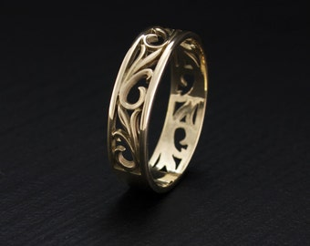 nature wedding band leaves wedding ring vintage style wedding ring yellow gold ring - Leaf Wedding Ring