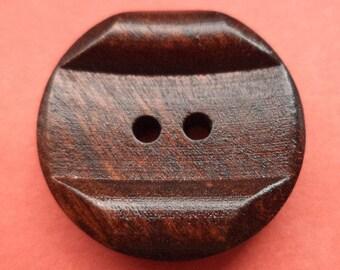 Wood button buttons 12 wooden button dark brown-22 mm (6023)