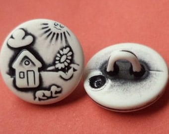 10 children buttons of 13 mm white (5572) small knobs knob