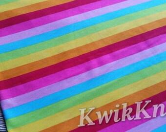 Bright - rainbow - stripes - cotton lycra - cotton spandex, stretch knit - fabric - 95/5 - four way stretch - knit fabric - summer stripes