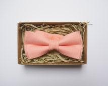 Linen peach bow tie, Mens Peach Bowtie, Adjustable Bow Tie, Pre Tied Bow Tie, Peach Bow Tie, Wedding Bowties, Groomsmen Bow Tie