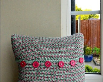 Pink and Green Crochet Cushion