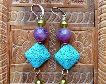 Earrings Bluepurple