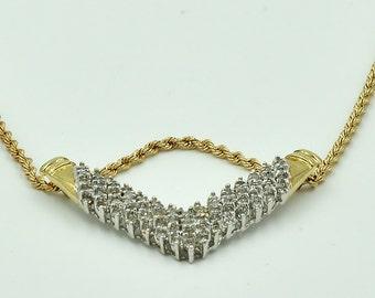 10K Diamond Necklace,  necklace w/  89 diamonds in the pendant