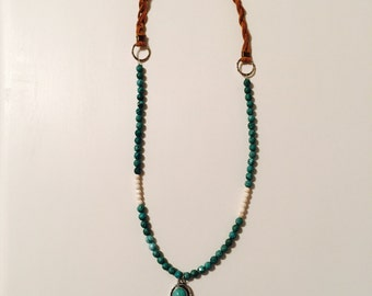 Stone and Feather Necklace