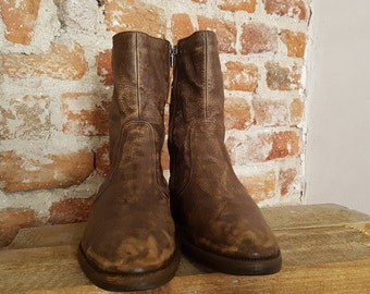 vintage ankle boots winter men brown leather zip up boots size 43