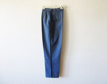 Marching Band Pants Navy Gabardine Pants Military Trousers Uniform Trousers With Stripe Mens Blue Slacks Made In USA Size Small To Medium