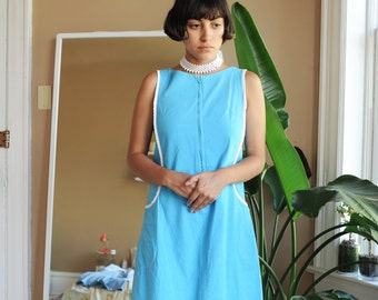 Vintage 60's Skimma Blue & White Dress, Size Small / ITEM625