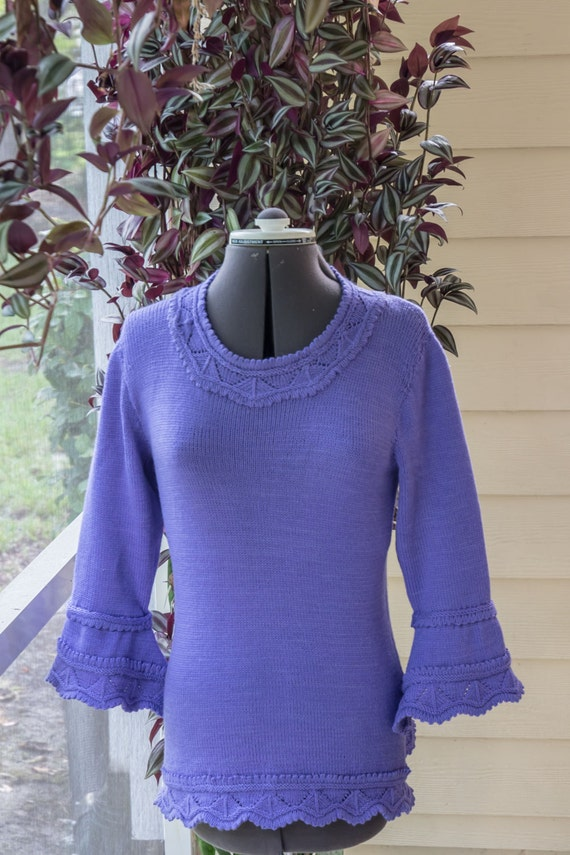 Women's Beautiful Lace Pullover Tunic (Jumper)  with 3/4 Juliette Flared Sleeves-Custom made to fit!