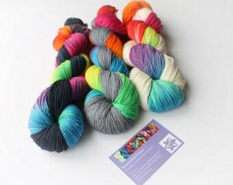 300g hand dyed yarn 'Monochrome Rainbow' / 100% merino/ hand dyed yarn / indie dyer/ DK yarn / crochet / knitting / sock weight yarn
