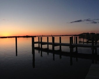 Sunsets, Sunset, Dock, Bay, Orange Skies/New Jersey/NJ Shore