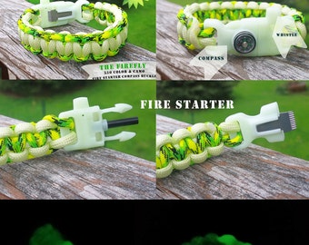 The Glomad FIREFLY // Glow in the Dark  550 Cobra Knot Paracord Survival Bracelet Fire Starter Compass Whistle Tinder Holder Buckle