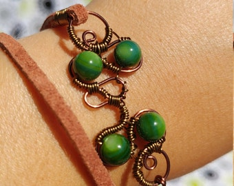 Leather Wrap Bracelet Wire Wrapped Two Tone Copper with Green Russian Shell Beads